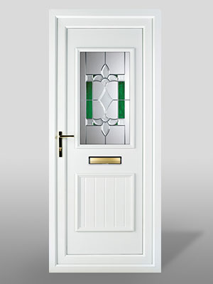 Entrance doors with decorative glass