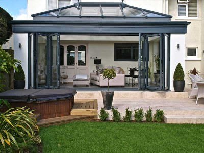 Black Conservatory with bifold doors