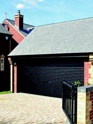 Closed black garage door