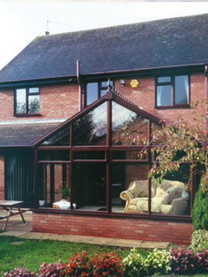 Brown Gable Roofed Conservatory