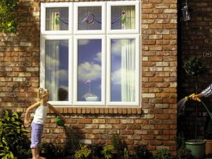 Flush Sash Casement Windows with Decorative Glass