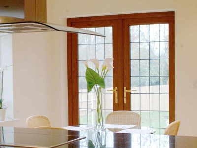 Oak Coloured PVC Patio Doors