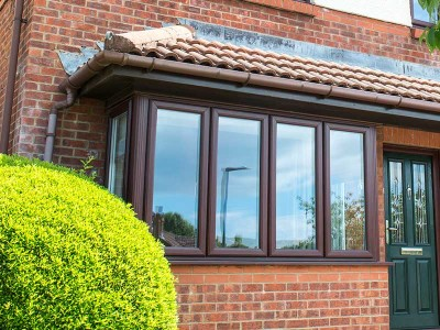 Brown PVC bay window