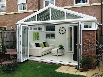 Gable conservatory with bifold doors