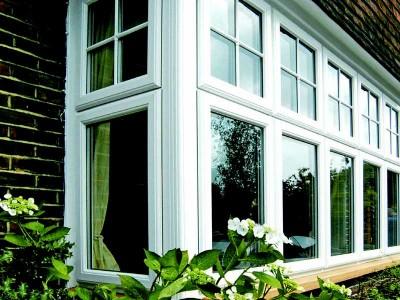 White PVCu Bay Windows